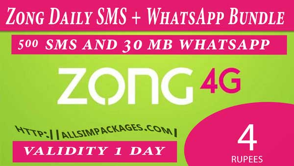 zong daily sms and whatsapp bundle